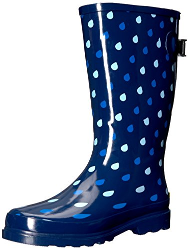 Western Chief Women Wide Calf Rain Boot, Raindrop Dot , 8 W US