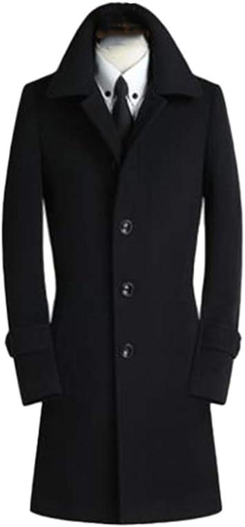 メンズファッションウールコート、冬のビジネスカジュアルスリムジャケットシングルブレストオーバーコートプラスサイズ