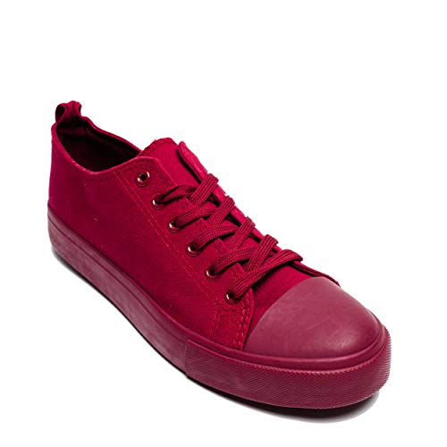 Maroon Top up Flat Low Toe Canvas Cut Casual for Women Sneakers Fashion Sneaker Cap Lace Shoes Low Girls qT4nfw
