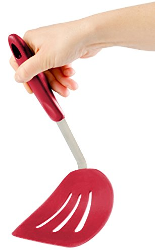 ble Wide Silicone Pancake Turner Spatula, Bonus 101 Cooking Tips (Cherry Red) (Silicone Jumbo Spoon Spatula)