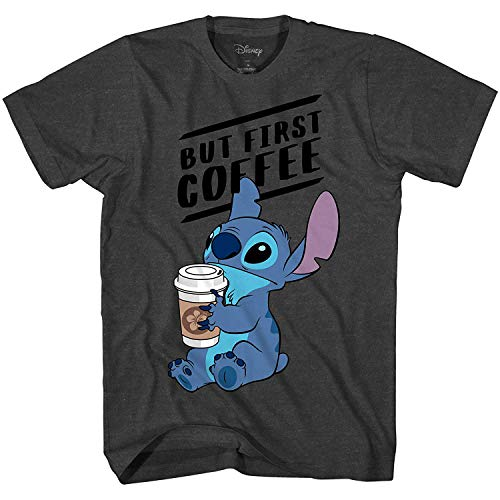 Disney Lilo and Stitch Coffee First Adult T-Shirt (Heather Charcoal, Extra Large)