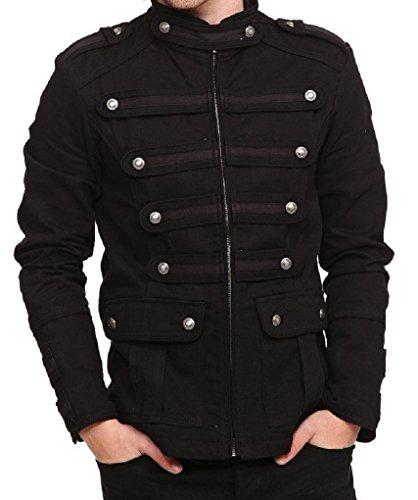Black Gothic Steampunk Army Military Uniform Style Pea Coat Jacket (3XL)