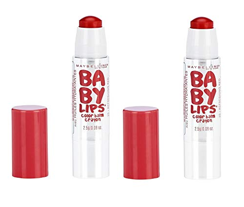 Pack of 2 Maybelline New York Baby Lips Color Balm Crayon, 25 Refreshing Red (Best Baby Lips Color)
