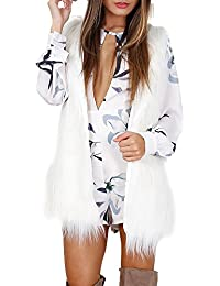 Women's Soft Sleeveless Faux Fur Vest Coat Waistcoat Jacket