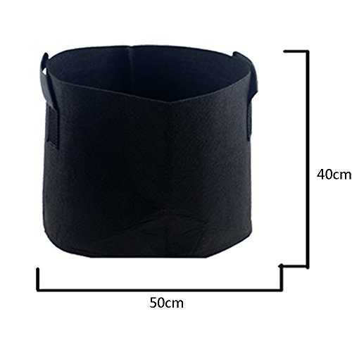 (HONGVILLE Grow Bags/Aeration Fabric Pots with Handles, 20 Gallon, Black)