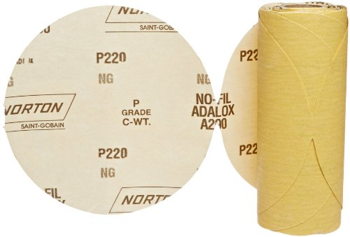 """UPC 076607492401, Norton 07660749240 Stick and Sand Abrasive Disc with Pressure-Sensitive Adhesive Attachment, Aluminum Oxide, 6"""" Diameter, Grit P220 Very Fine (Roll of 50)"""