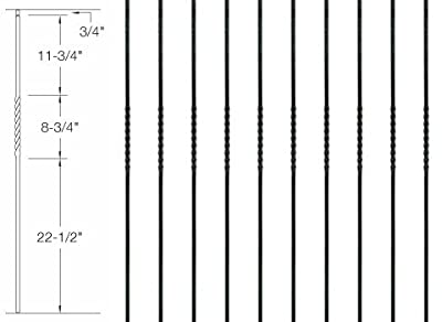 """Iron Balusters - Single Twist - Hollow - 44"""" Tall - 1/2"""" Square - Box of 15"""