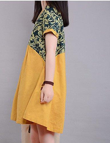PU&PU Robe Aux femmes Trapèze Street Chic,Fleur Col Arrondi Au dessus du genou Coton , yellow-2xl , yellow-2xl