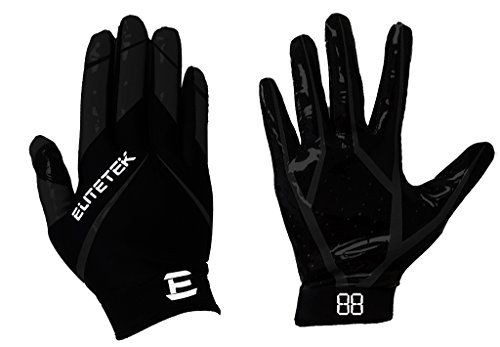 EliteTek RG-14 Football Gloves Youth and Adult (Black/Black, Youth XS)