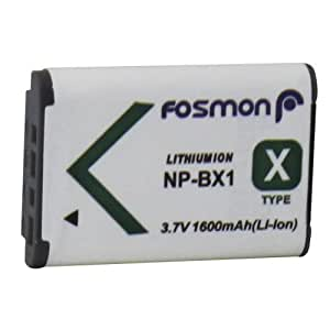 Fosmon Premium Quality Sony NP-BX1 (1600 mAh 3.7V) Replacement Li-ion Battery Pack for Sony DSC-QX100/ RX1/ RX1R/ RX100/ RX100 II/ WX300/ WX350/ HX400/ H400/ HX300/ HX50V, HDR-AS10/ AS15/ AS30V/ AS100/ CX240/ GW66/ PJ275 - Fosmon Retail Packaging by Fosmon Technology