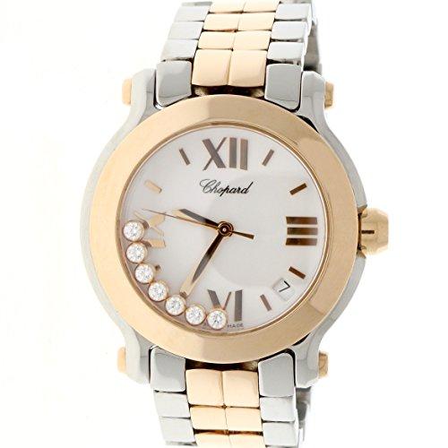 Chopard-Happy-Sport-Round-Medium-7-Floating-Diamonds-2-Tone-18K-Rose-GoldStainless-Steel-36MM-Watch-278488-9001
