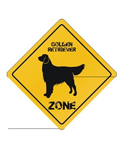Silhouette Retriever Golden - Golden Retriever Zone Silhouette - Dogs [ Decorative Crossing Sign Wall Plaque ]