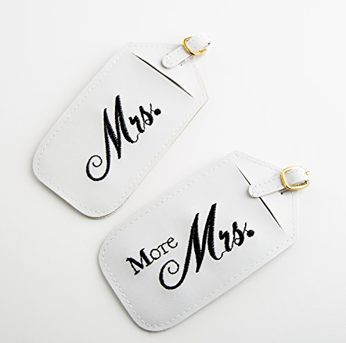 Mr. and Mrs. Luggage Tags 3-Pack Set with Satin Heart Do Not Disturb Door Hanger