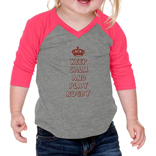 Cute Rascals Keep Calm and Play Rugby Cotton/Polyester 3/4 Sleeve V-Neck Boys-Girls Infant Raglan T-Shirt Baseball Jersey - Gray Hot Pink, 18 Months