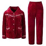 Women's Plush Fleece 2-Piece Pajamas Set Soft and Warm Sleepwear Loungewear (red-XL)