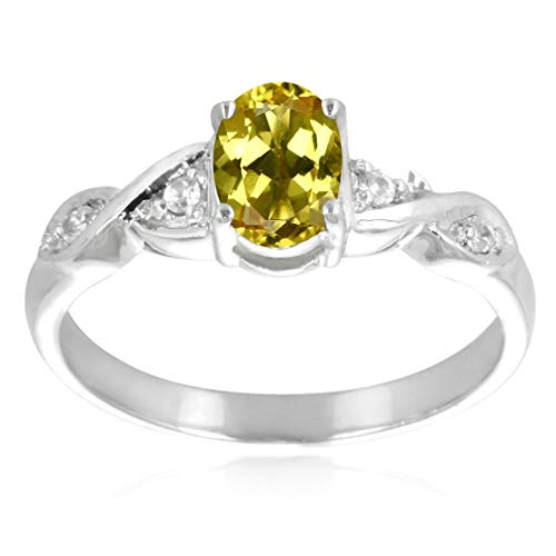 Silvershake Natural Yellow Beryl and White Sapphire 925 Sterling Silver Ring Size 7