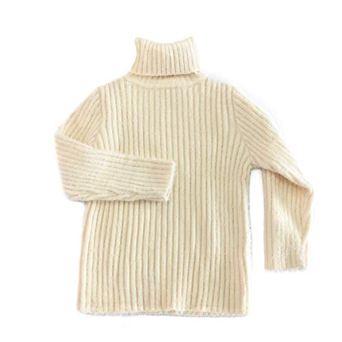accsa Kid Girl Long Sleeve Soft Rib Turtleneck High Collar Pullover Sweater White Age -