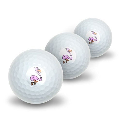 Pink Flamingo Novelty Golf Balls 3 Pack by Graphics and More