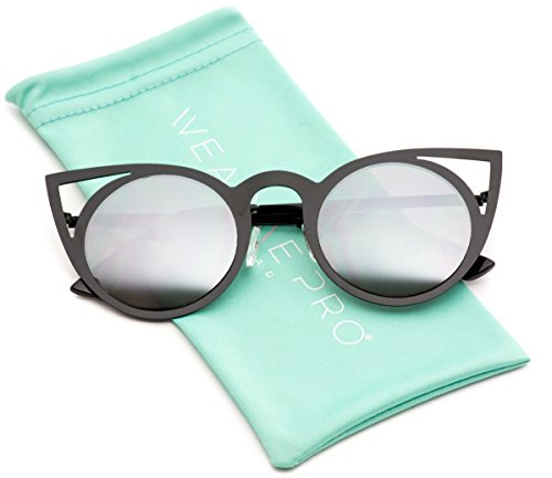 Womens Cateye Retro Fashion Retro Round Lens Cat Eye Sunglasses (Black Frame / Mirror Silver, - Cat Sunglasses
