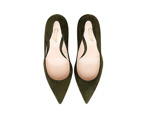 Guoar Kvinners Stiletto Store Størrelse Sko Spisse Tå Damene Høy Hæl Pumper For Arbeid Prom Kjole Part A-mørk Grønn Semsket Skinn