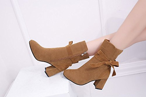 Autumn and Winter Short Boots Pointed Rough High Martin Boots Side Zipper Bowknot Female Boots Brown hby7AkF