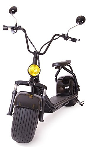 eDrift UH-ES295 Electric Fat Tire Scooter Moped with Shocks 1500w Hub Motor 24MPH Harley E-Bike (Matte Black, 10AH 22 Miles Range)