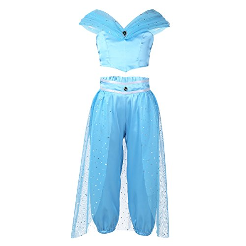 Agoky Girls Fairy Glittery Sequined Princess Jasmine Costumes for Halloween Cosplay Party Sky Blue -
