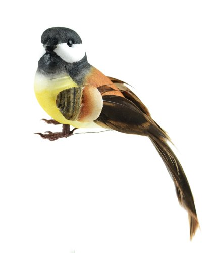 Touch of Nature 1-Piece Mushroom/Feather Black Capped Chickadee Bird on Wire for Arts and Crafts, 5-Inch, - Artificial Bird