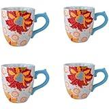 Dutch Wax Hawaiian Floral 14 Ounce Mug - Set of 4