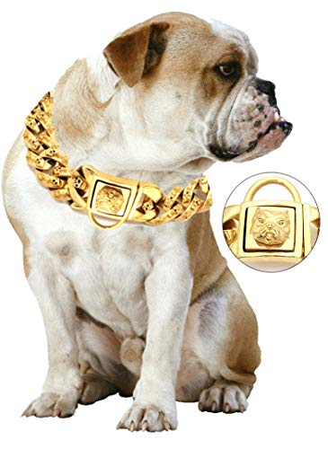 Yasover Gold Chain Dog Collar - Pet Training Collars, Stainless Steel Heavy Duty Cuban Link, Necklace Choke for Bully Pitbull,Bulldog, Mastiff, Big Breeds(Width 1.3 inch)