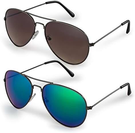 Stylle Classic Aviator Sunglasses and Black Cloth Protective Bag, 100% UV Protection