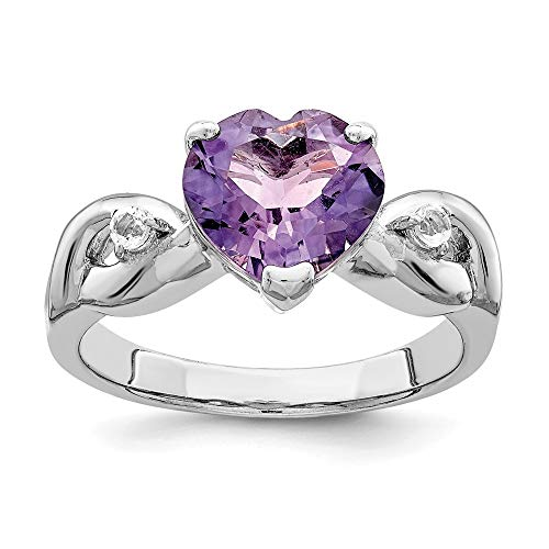 - 925 Sterling Silver Lavender Gemstone Heart Band Ring Size 6.00 S/love Fine Jewelry Gifts For Women For Her