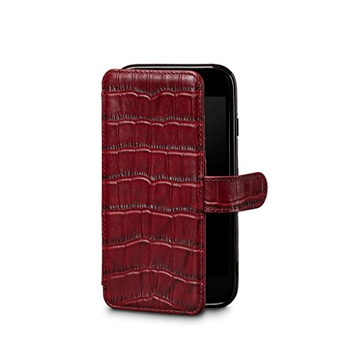 Sena Wallet Book - Genuine Leather Book Style Folio Wallet with Kickstand & Card Slots for iPhone XS/iPhone X - Croco Red