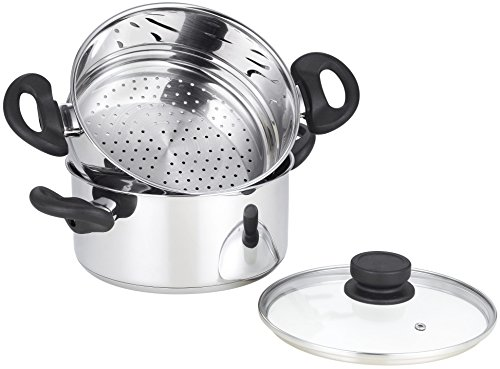mockins 3 Piece Premium Heavy Duty Stainless Steel Steamer Pot Set Includes a 3 Quart Saucepot With a Vented Glass Lid & a 2 Quart Steamer Insert - Stack & Steam Pot Set … … (Steamers Premium)