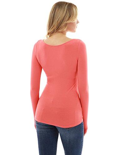 femmes PattyBoutik lacet empire rouge taille Corail manches longues blouse rrRwqCd