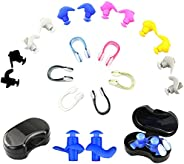 Swimming Earplugs Nose Clip,6 Pairs Waterproof Reusable Silicone Ear and Nose Clips Plugs,Swimmers Showering B