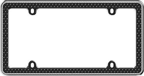 (Cruiser Accessories 18525 Button Tuck Bling License Plate Frame, Chrome/Black/Clear)