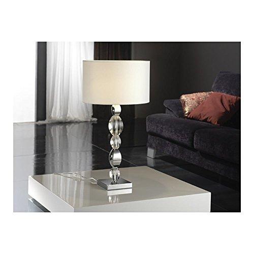 Schuller Spain 492061/7236I4L Modern, Art Deco Chrome Table Lamp 1 Light Living Room, bed room, Study, Bedroom LED, White shade Chrome Table Lamp | ideas4lighting by Schuller