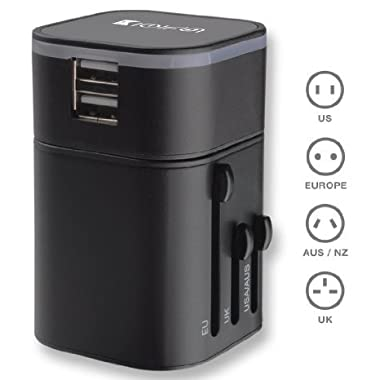 Travel Adapter, Universal Travel Plug With Dual 3.2a Usb Ports Us To Uk Eu Au All In One Worldwide Travel Power Adapter Safety Fuse Protection Adaptor International Ac Wall Charger (Black Color)