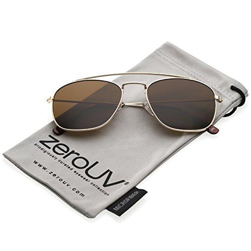 zeroUV - Classic Metal Curved Crossbar Square Lens Aviator Sunglasses 53mm (Gold / - Sunglasses Men Asos