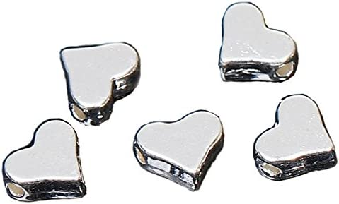 360d0438da32 Sadingo Metal Perlas corazón 20 Pieza Corazón Perlas – 7 x 6 mm – Plata  Colores