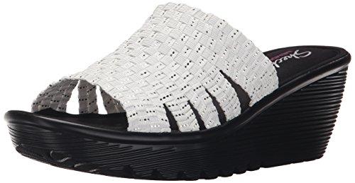 Sandalo Con Zeppa Parallela Da Donna Cali Skechers Bianco / Argento