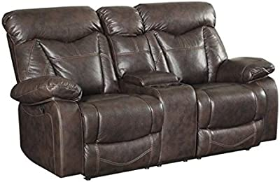 BOWERY HILL Faux Leather Motion Reclining Loveseat in Brown