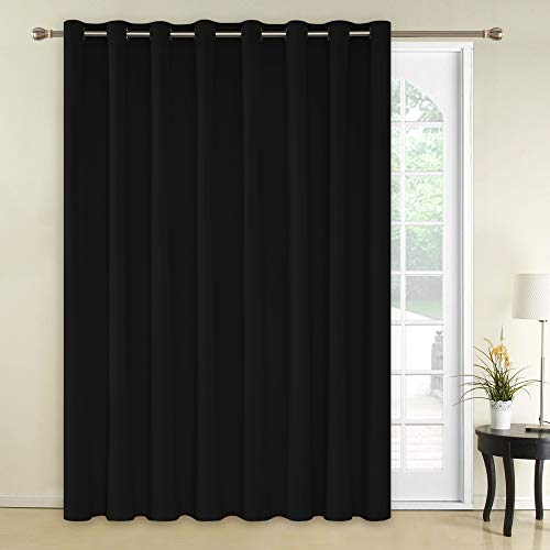 Deconovo Blackout Room Darkening Thermal Insulated Wide Panel Curtains for Bedroom 100 x 84 Inch Black 1 Panel (Width Of Fabric Vs Length Of Fabric)