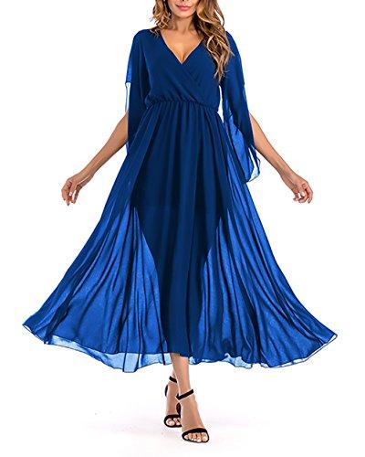... Lange Kleider Maxikleid  Chiffonkleid Damen Elegant Festlich  Sommerkleider Kleid Lang V-Ausschnitt 50Er Jahre Kleider Bekleidung Modisch  Dresses ... 40e50e3419