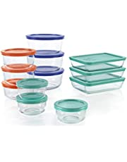 Pyrex 1136614 Simply Store Glass Food Containers with BPA Free Plastic Multi-Coloured Lids (24 Piece Set)