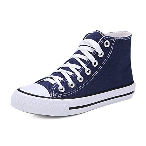 New-Loft Vulcanize Casual Flats Summer Shoes Women lace up Walking high top Sneakers Woman Size 35-45,Navy,6