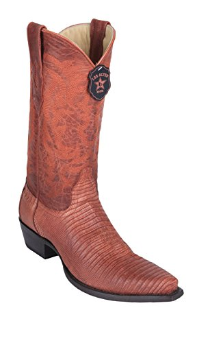 Men's Snip Toe Cognac Greasy Finish Genuine Leather Teju Lizard Skin Western Boots - Exotic Skin Boots