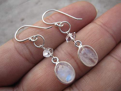 Oval Rainbow Moonstone,Herkimer Diamond Quartz Jewelry 925 Sterling Silver Earrings,Drop Length 3.8 cm,EMRH2 ()