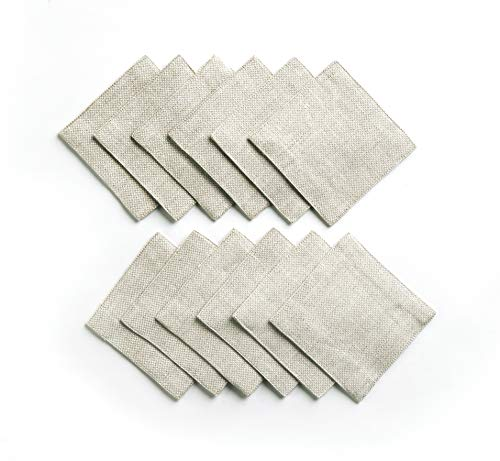 - Solino Home Rustic Linen Coasters - 4 x 4 Inch, Set of 12 Handwoven and Handcrafted - Natura Collection, White Natural Coaster